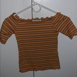 yellow striped 1/2 sleeve shirt